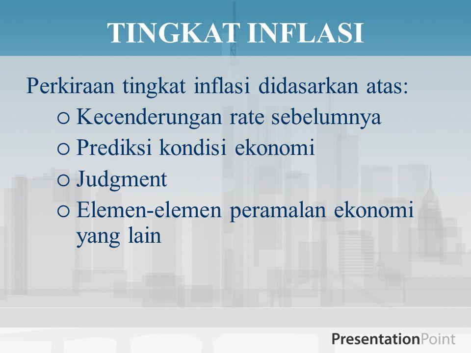 TINGKAT INFLASI Perkiraan tingkat inflasi didasarkan atas: