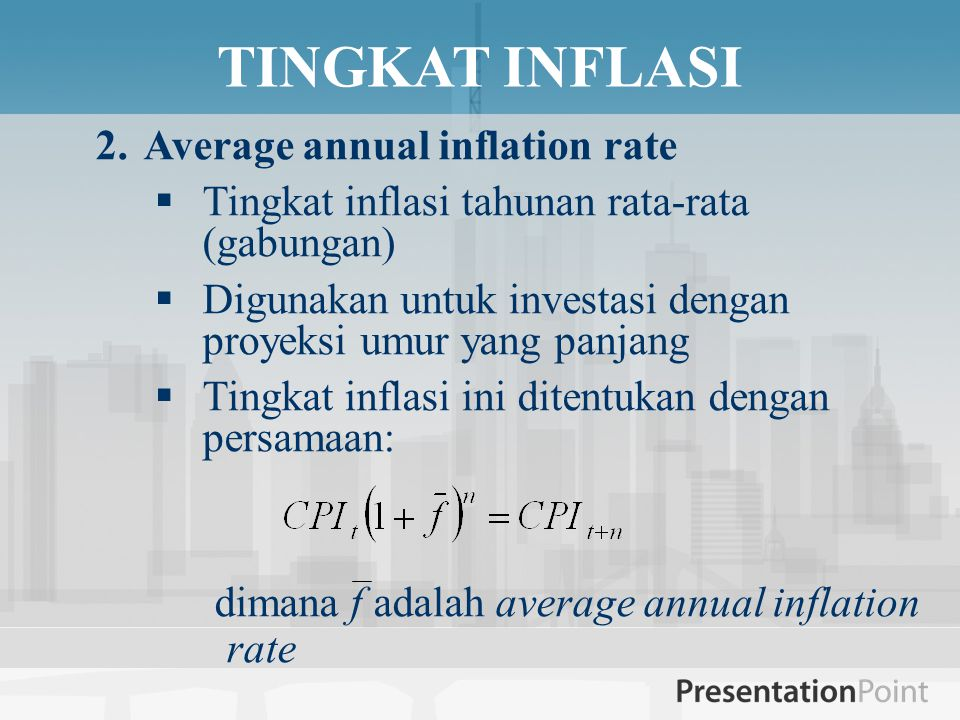 TINGKAT INFLASI Average annual inflation rate