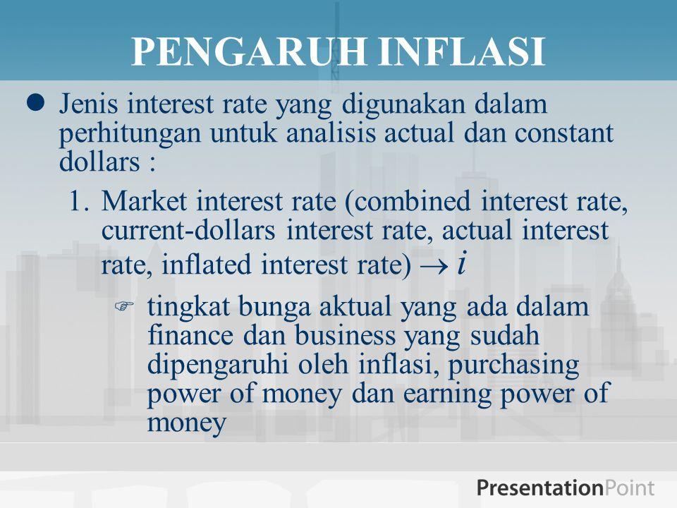 PENGARUH INFLASI Jenis interest rate yang digunakan dalam perhitungan untuk analisis actual dan constant dollars :