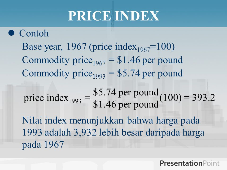 PRICE INDEX Contoh Base year, 1967 (price index1967=100)