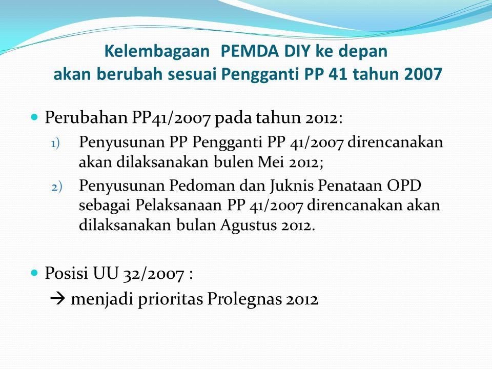 Kelembagaan PEMDA DIY ke depan akan berubah sesuai Pengganti PP 41 tahun 2007