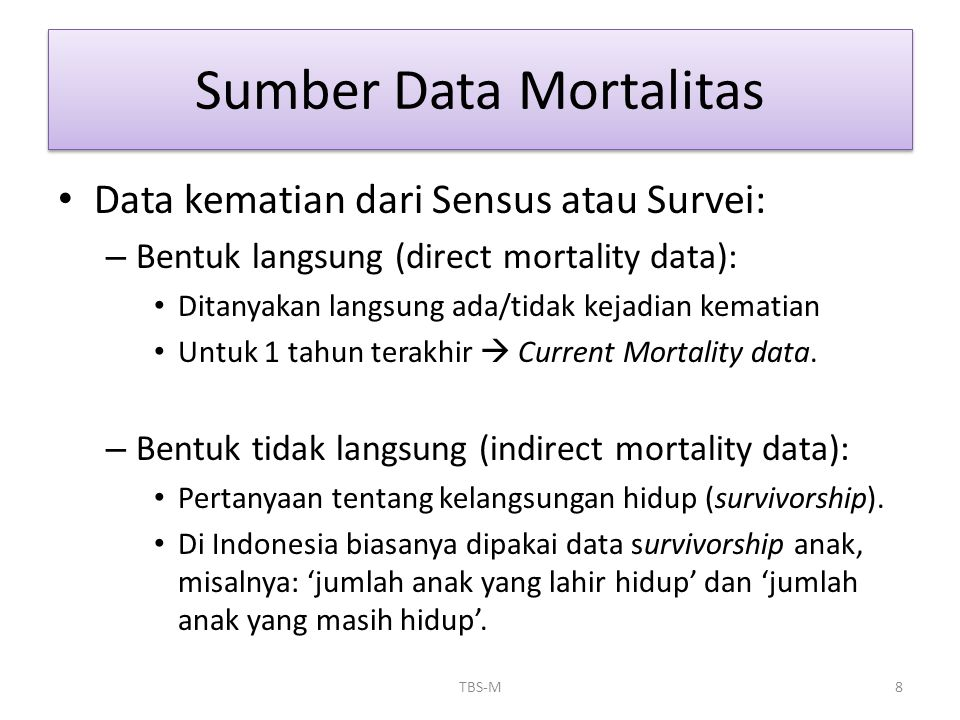 Sumber Data Mortalitas
