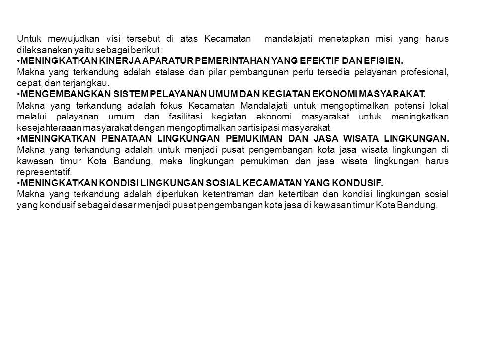 Untuk mewujudkan visi tersebut di atas Kecamatan mandalajati menetapkan misi yang harus dilaksanakan yaitu sebagai berikut :