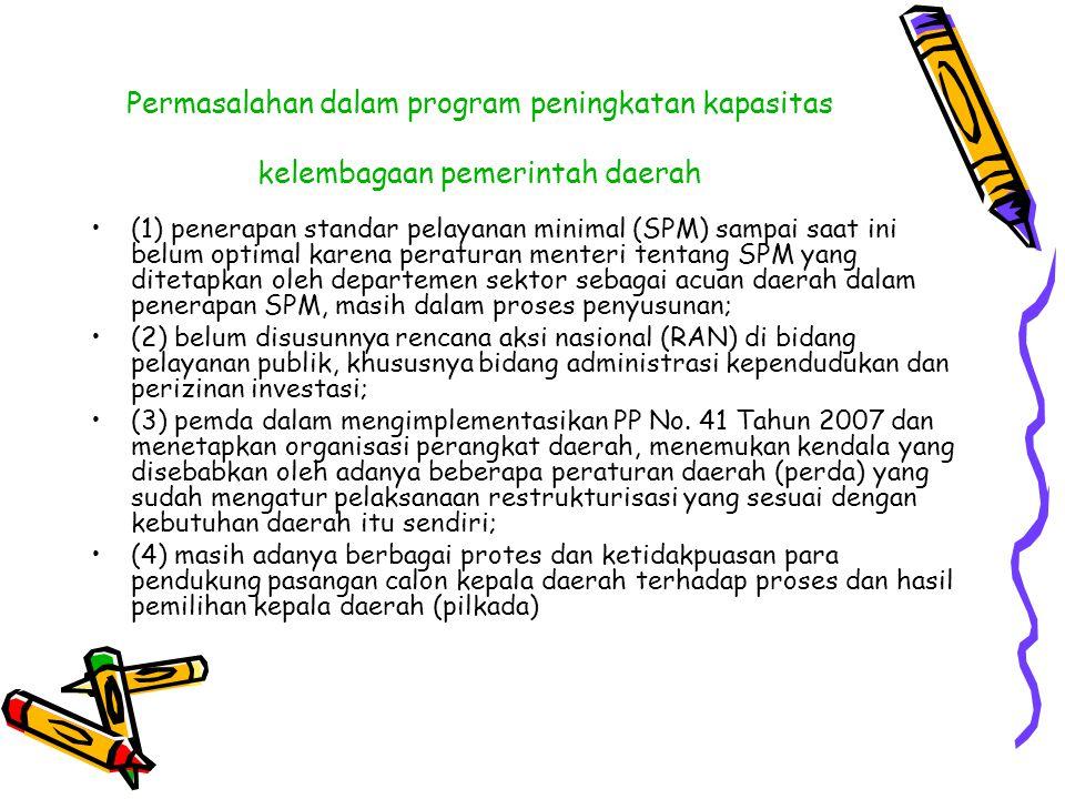 Permasalahan dalam program peningkatan kapasitas kelembagaan pemerintah daerah