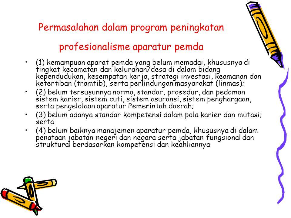 Permasalahan dalam program peningkatan profesionalisme aparatur pemda