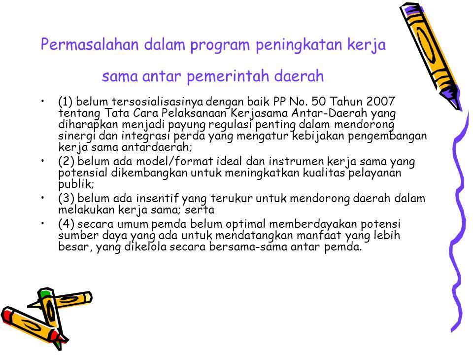 Permasalahan dalam program peningkatan kerja sama antar pemerintah daerah
