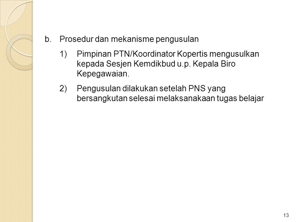 b. Prosedur dan mekanisme pengusulan