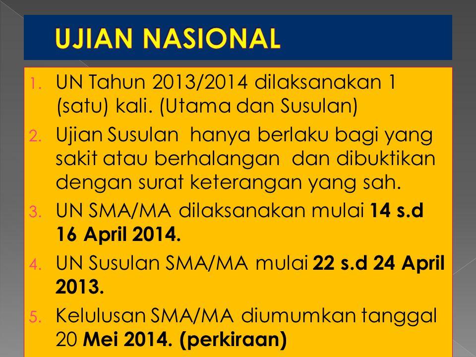 UJIAN NASIONAL UN Tahun 2013/2014 dilaksanakan 1 (satu) kali. (Utama dan Susulan)