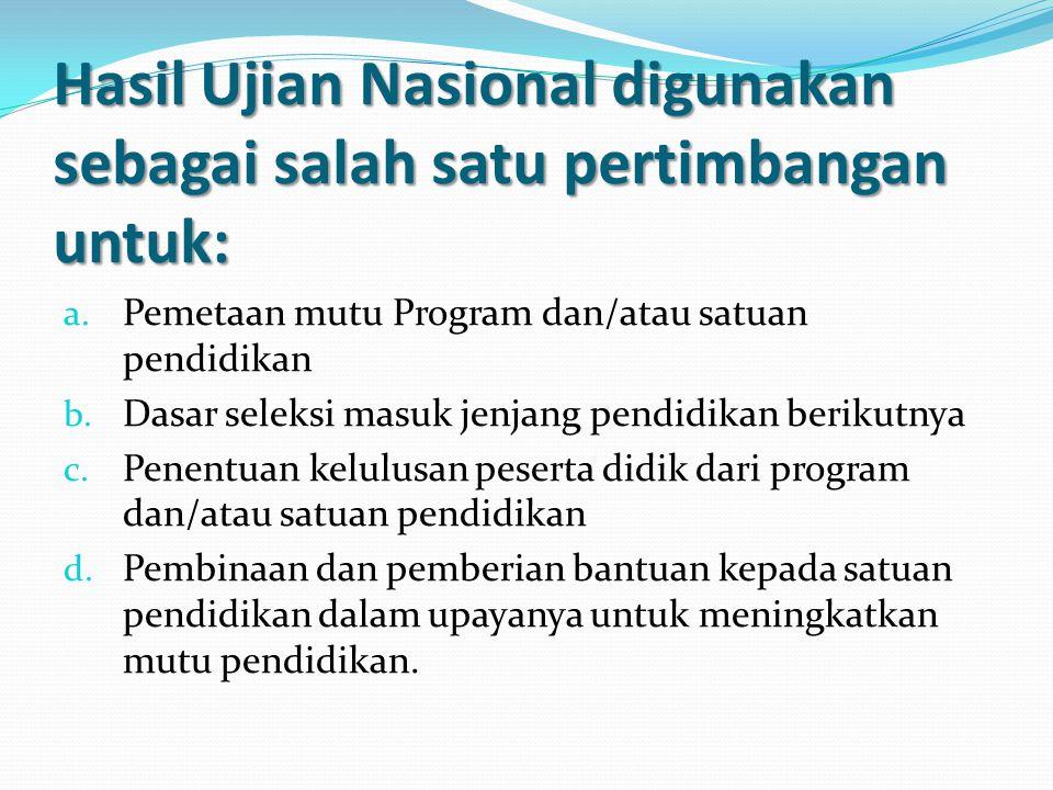 Hasil Ujian Nasional digunakan sebagai salah satu pertimbangan untuk: