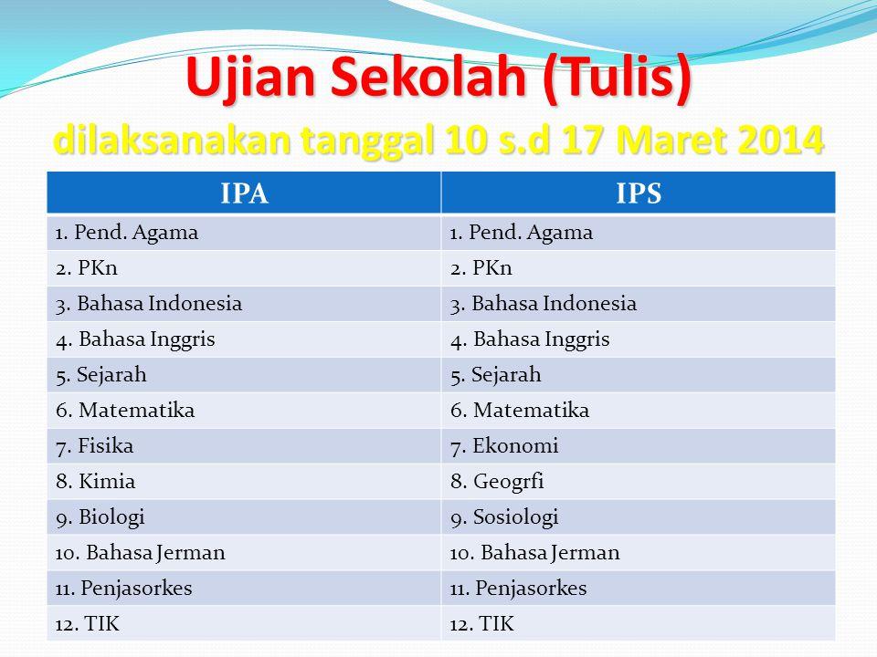 Ujian Sekolah (Tulis) dilaksanakan tanggal 10 s.d 17 Maret 2014