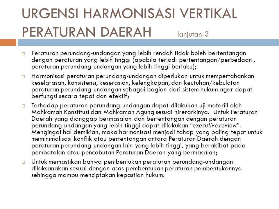 URGENSI HARMONISASI VERTIKAL PERATURAN DAERAH lanjutan-3
