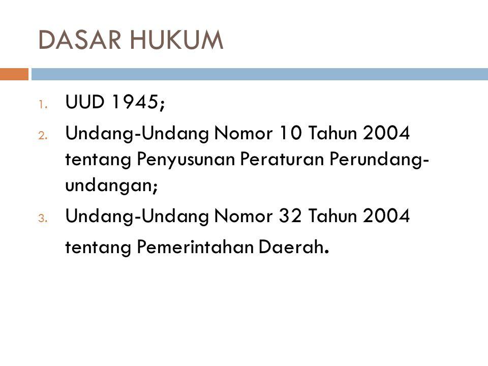 DASAR HUKUM UUD 1945; Undang-Undang Nomor 10 Tahun 2004 tentang Penyusunan Peraturan Perundang- undangan;