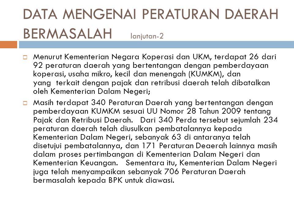 DATA MENGENAI PERATURAN DAERAH BERMASALAH lanjutan-2