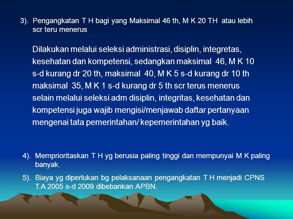 3). Pengangkatan T H bagi yang Maksimal 46 th, M K 20 TH atau lebih scr teru menerus