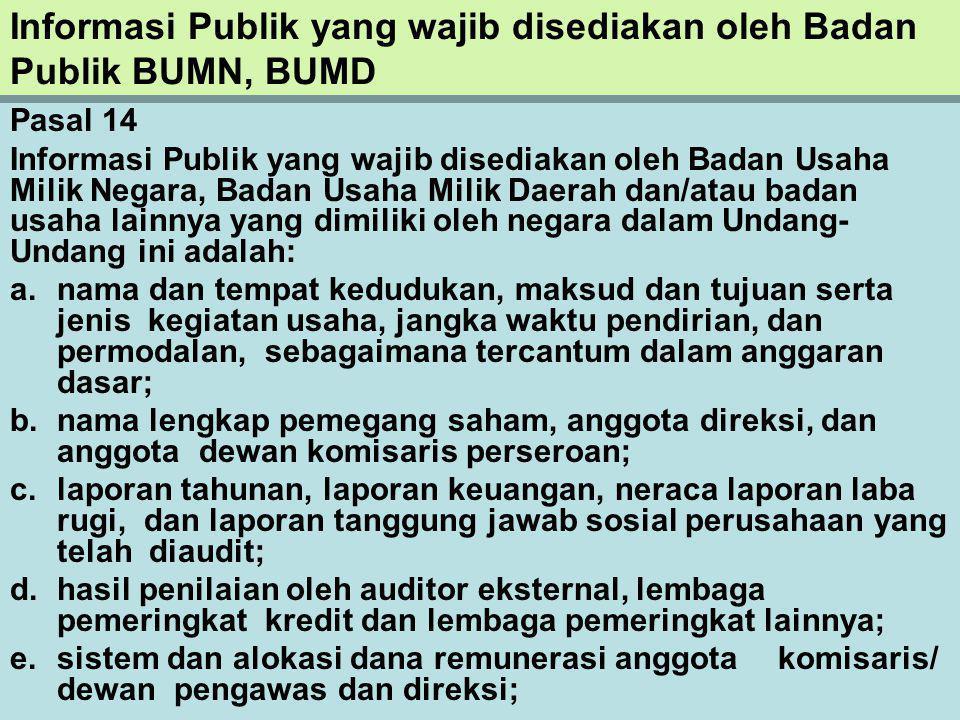 Informasi Publik yang wajib disediakan oleh Badan Publik BUMN, BUMD