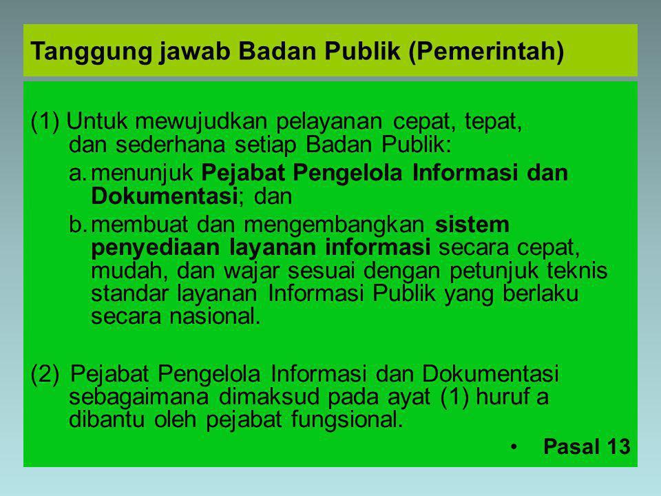 Tanggung jawab Badan Publik (Pemerintah)