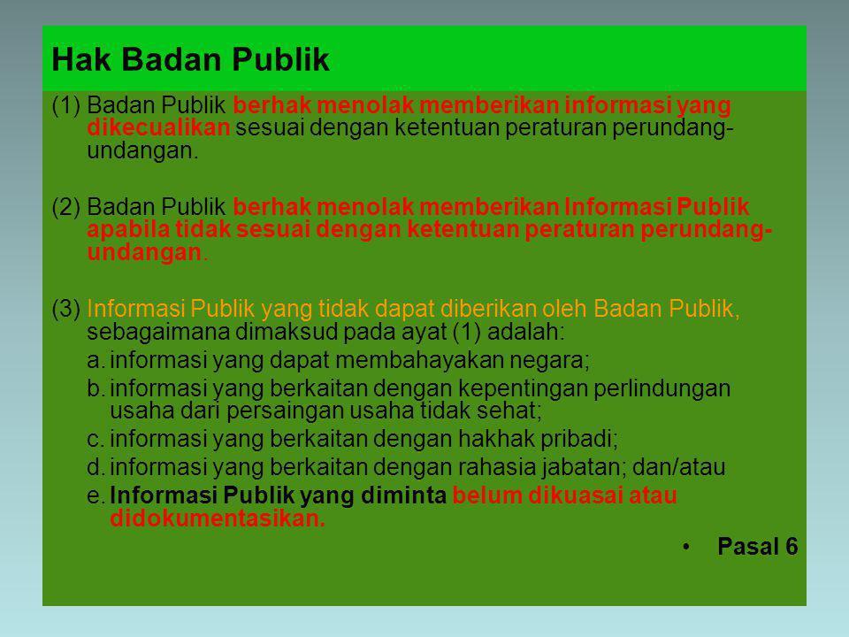 Hak Badan Publik Badan Publik berhak menolak memberikan informasi yang dikecualikan sesuai dengan ketentuan peraturan perundangundangan.