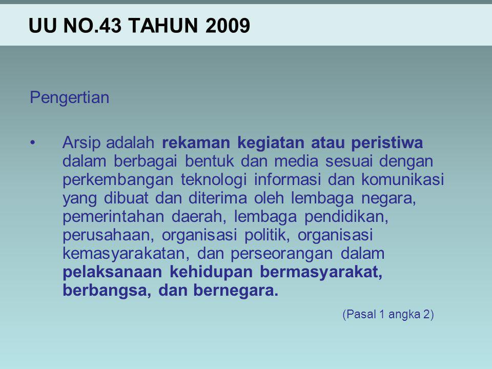 UU NO.43 TAHUN 2009 Pengertian.