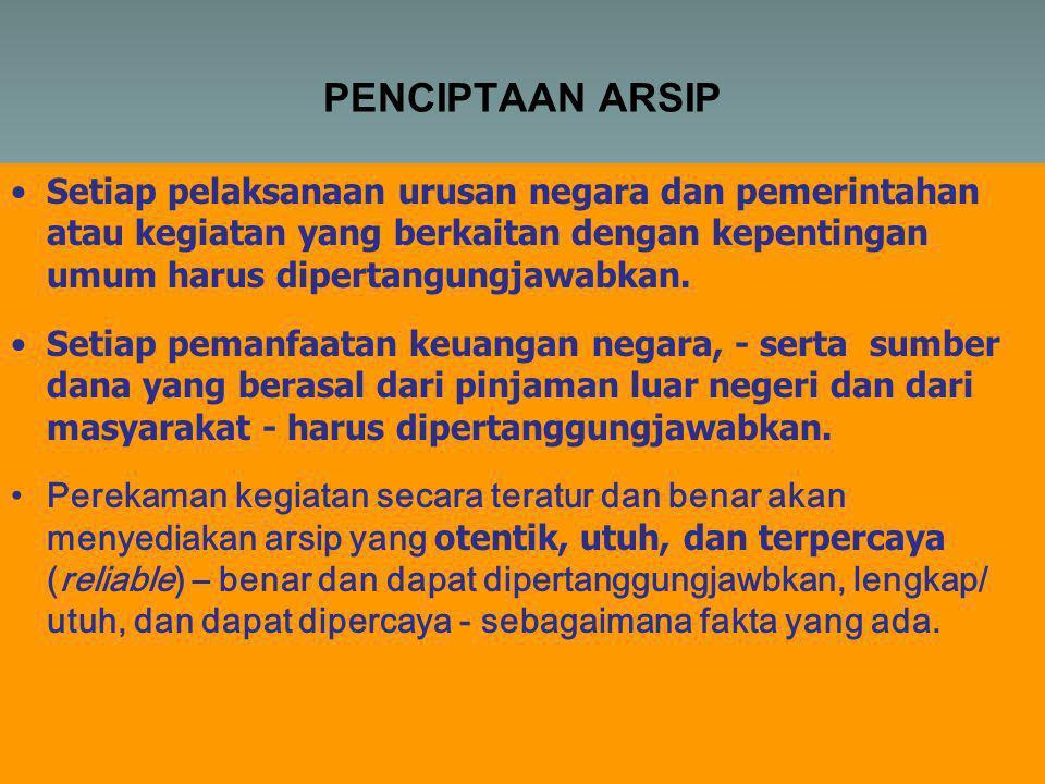 PENCIPTAAN ARSIP Setiap pelaksanaan urusan negara dan pemerintahan atau kegiatan yang berkaitan dengan kepentingan umum harus dipertangungjawabkan.
