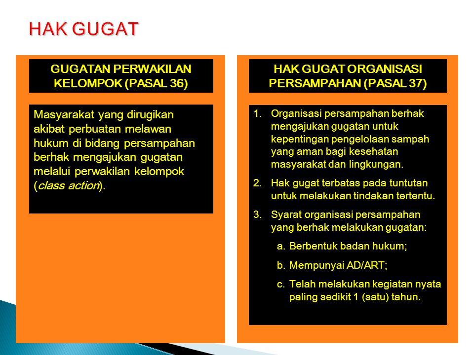 HAK GUGAT HAK GUGAT ORGANISASI PERSAMPAHAN (PASAL 37)