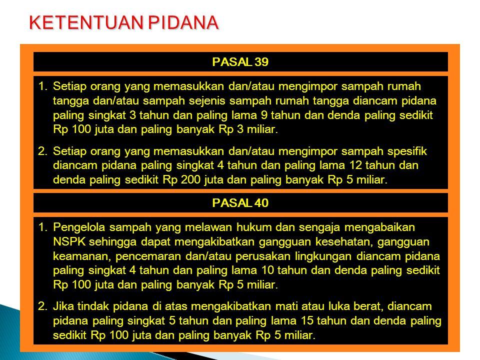 KETENTUAN PIDANA PASAL 39