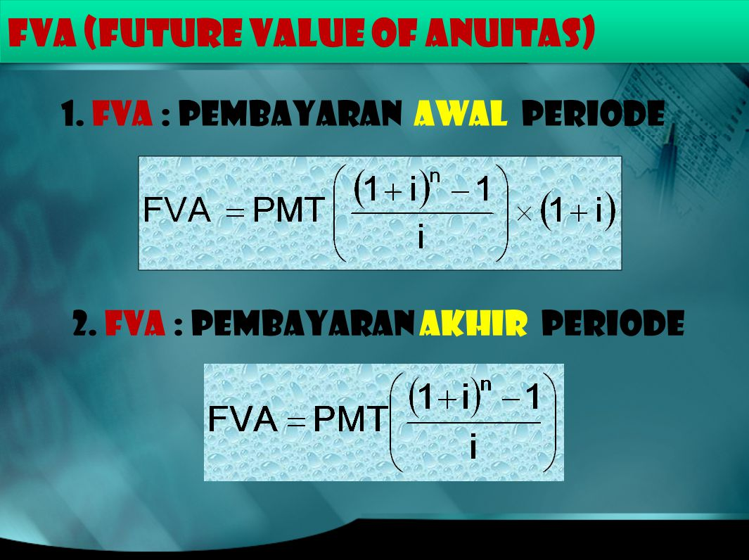 FVA (FUTURE VALUE of ANUITAS)