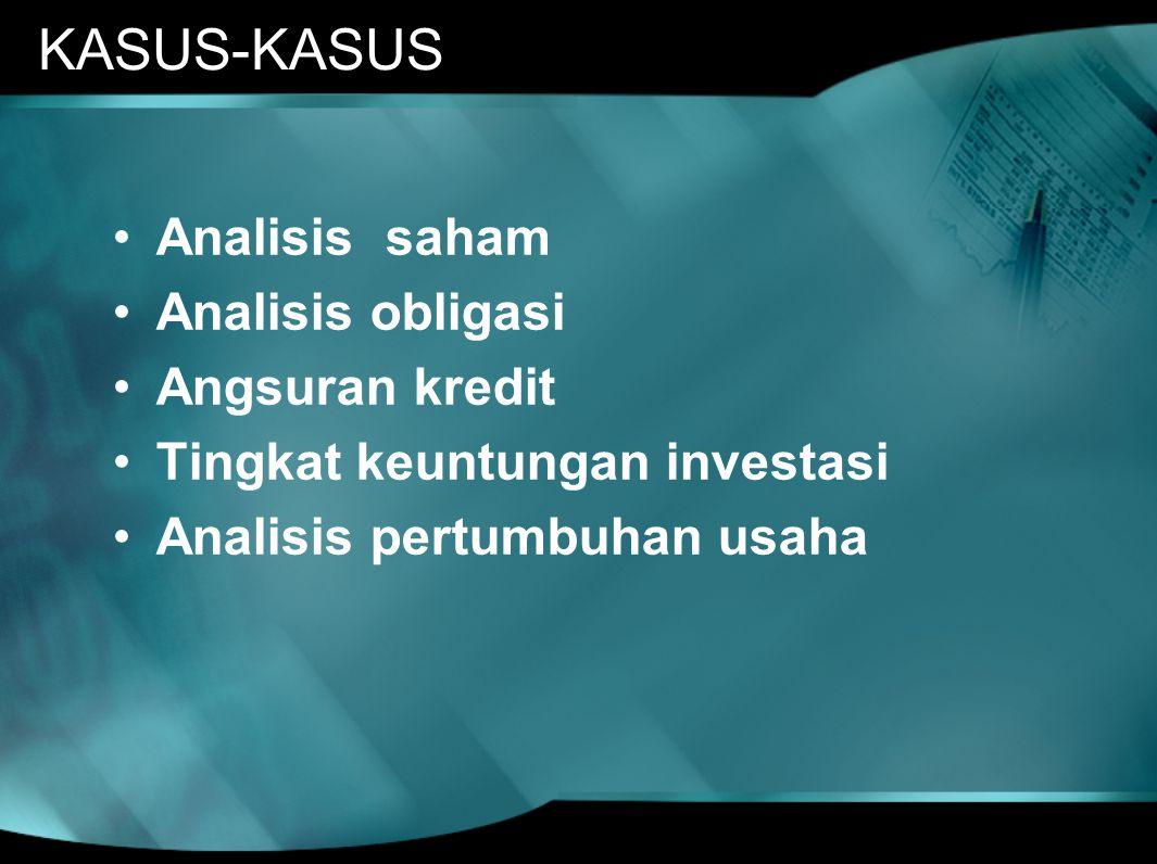 KASUS-KASUS Analisis saham Analisis obligasi Angsuran kredit