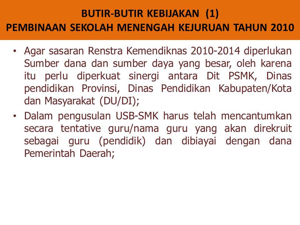 BUTIR-BUTIR KEBIJAKAN (1) PEMBINAAN SEKOLAH MENENGAH KEJURUAN TAHUN 2010