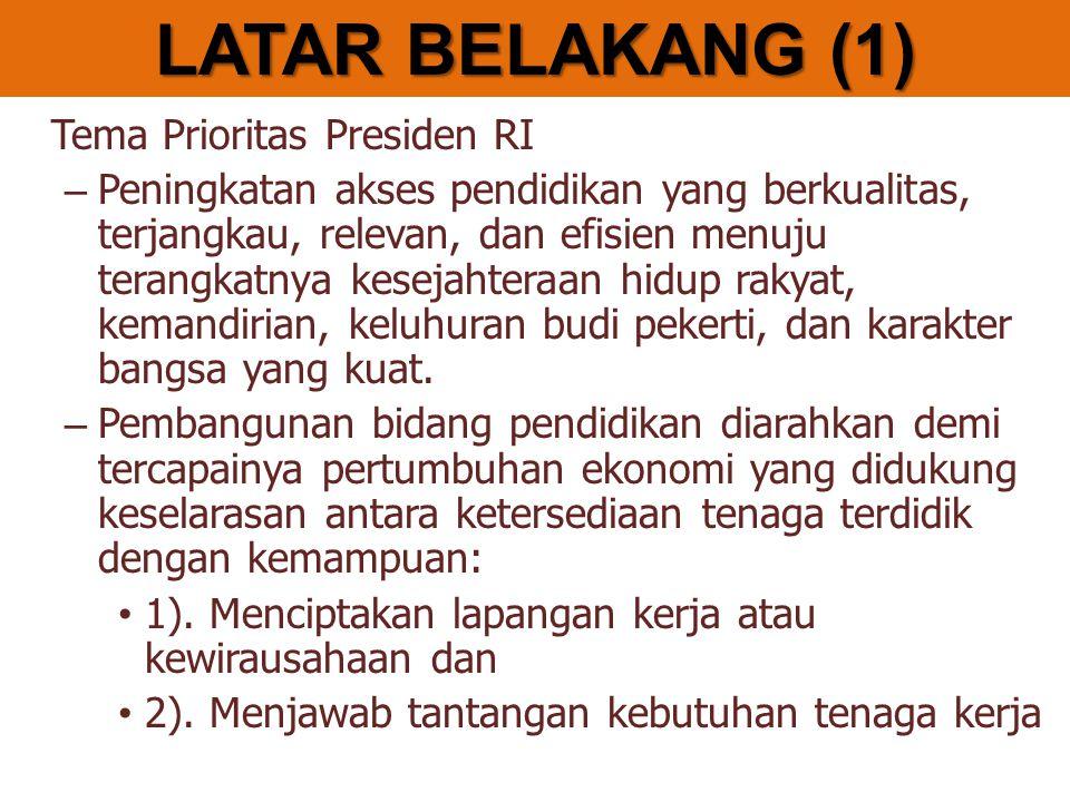 LATAR BELAKANG (1) Tema Prioritas Presiden RI