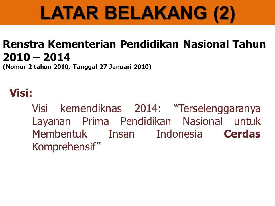 LATAR BELAKANG (2) Renstra Kementerian Pendidikan Nasional Tahun 2010 – 2014 (Nomor 2 tahun 2010, Tanggal 27 Januari 2010)