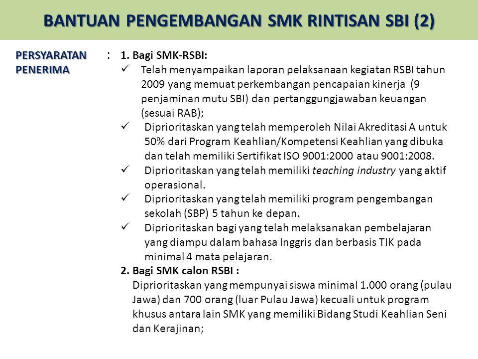 BANTUAN PENGEMBANGAN SMK RINTISAN SBI (2)