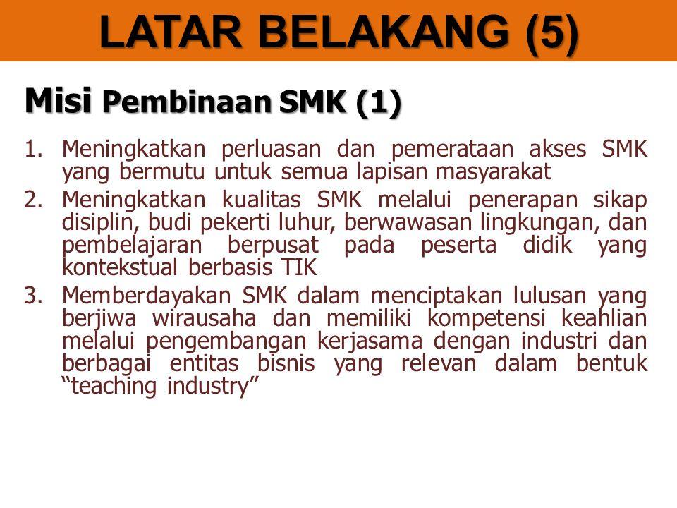 LATAR BELAKANG (5) Misi Pembinaan SMK (1)