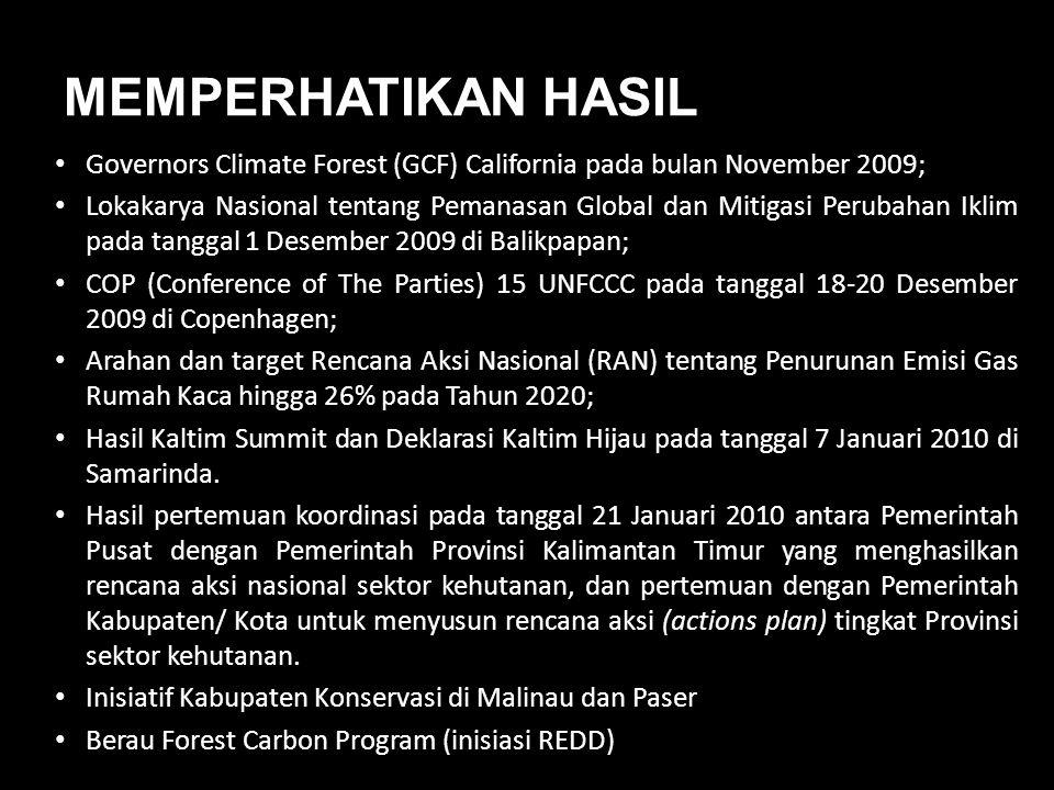 MEMPERHATIKAN HASIL Governors Climate Forest (GCF) California pada bulan November 2009;