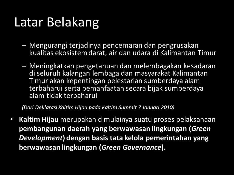 Latar Belakang Mengurangi terjadinya pencemaran dan pengrusakan kualitas ekosistem darat, air dan udara di Kalimantan Timur.