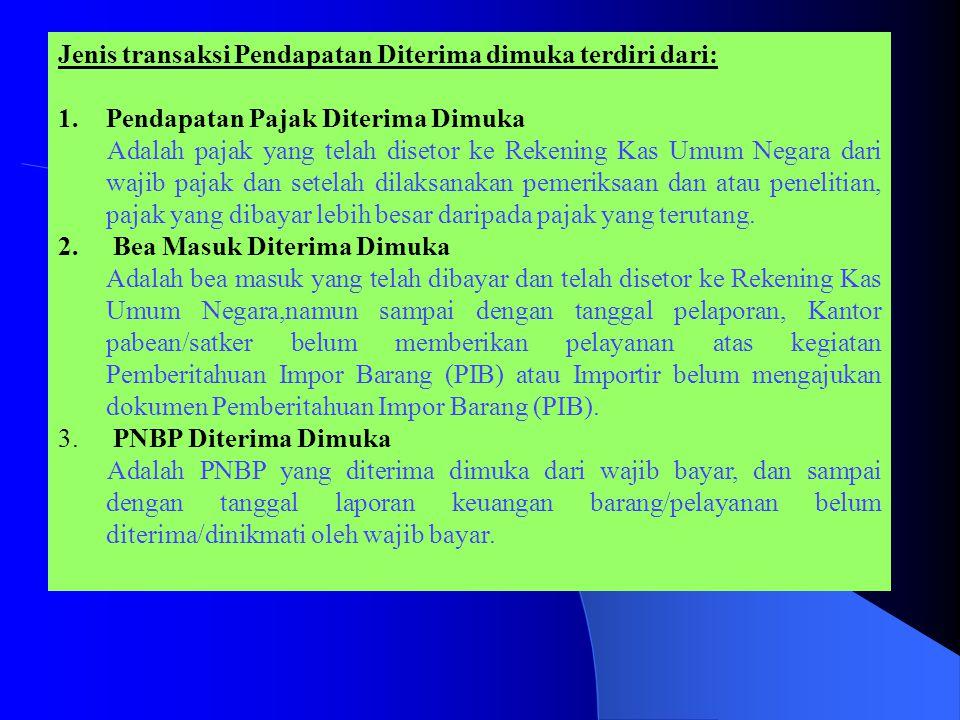 Jenis transaksi Pendapatan Diterima dimuka terdiri dari:
