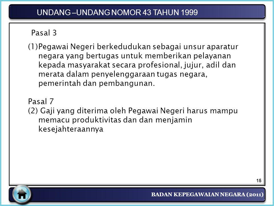 UNDANG –UNDANG NOMOR 43 TAHUN 1999