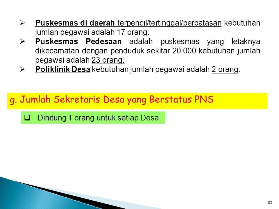 g. Jumlah Sekretaris Desa yang Berstatus PNS