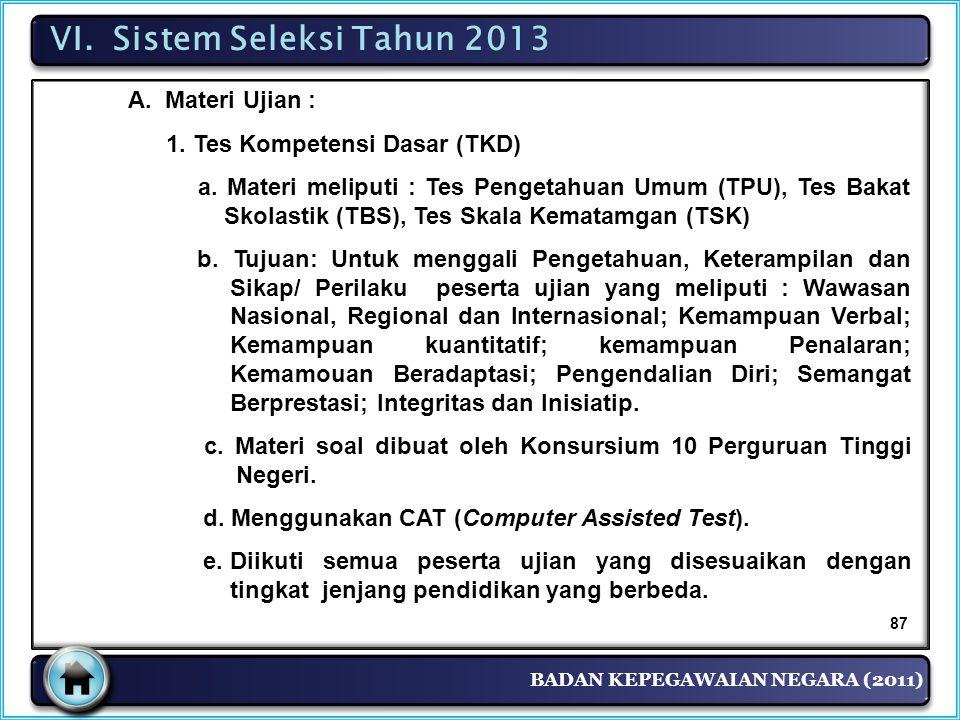 VI. Sistem Seleksi Tahun 2013