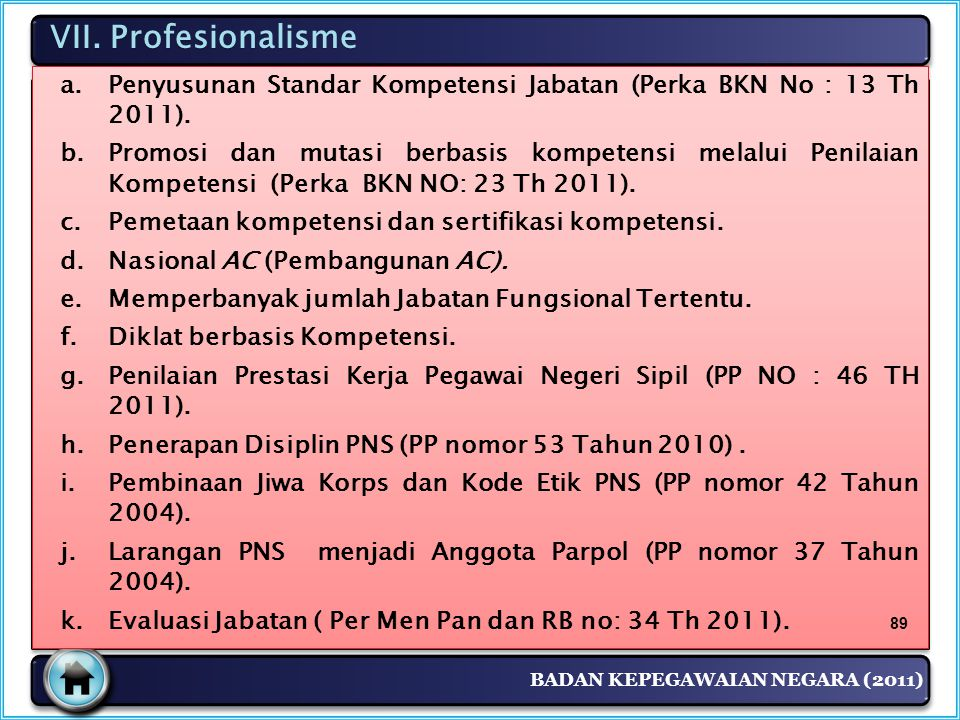 VII. Profesionalisme Penyusunan Standar Kompetensi Jabatan (Perka BKN No : 13 Th 2011).