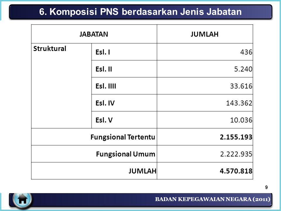 6. Komposisi PNS berdasarkan Jenis Jabatan