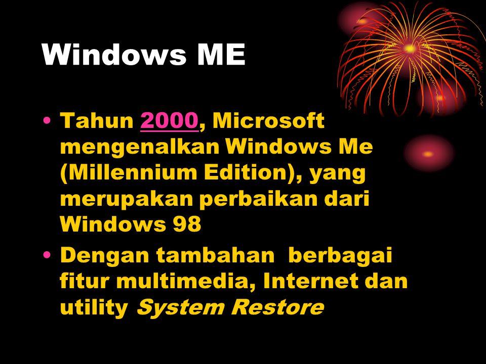 Windows ME Tahun 2000, Microsoft mengenalkan Windows Me (Millennium Edition), yang merupakan perbaikan dari Windows 98.
