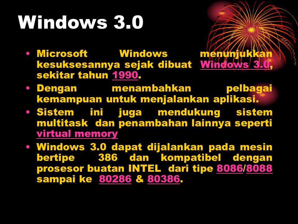 Windows 3.0 Microsoft Windows menunjukkan kesuksesannya sejak dibuat Windows 3.0, sekitar tahun 1990.