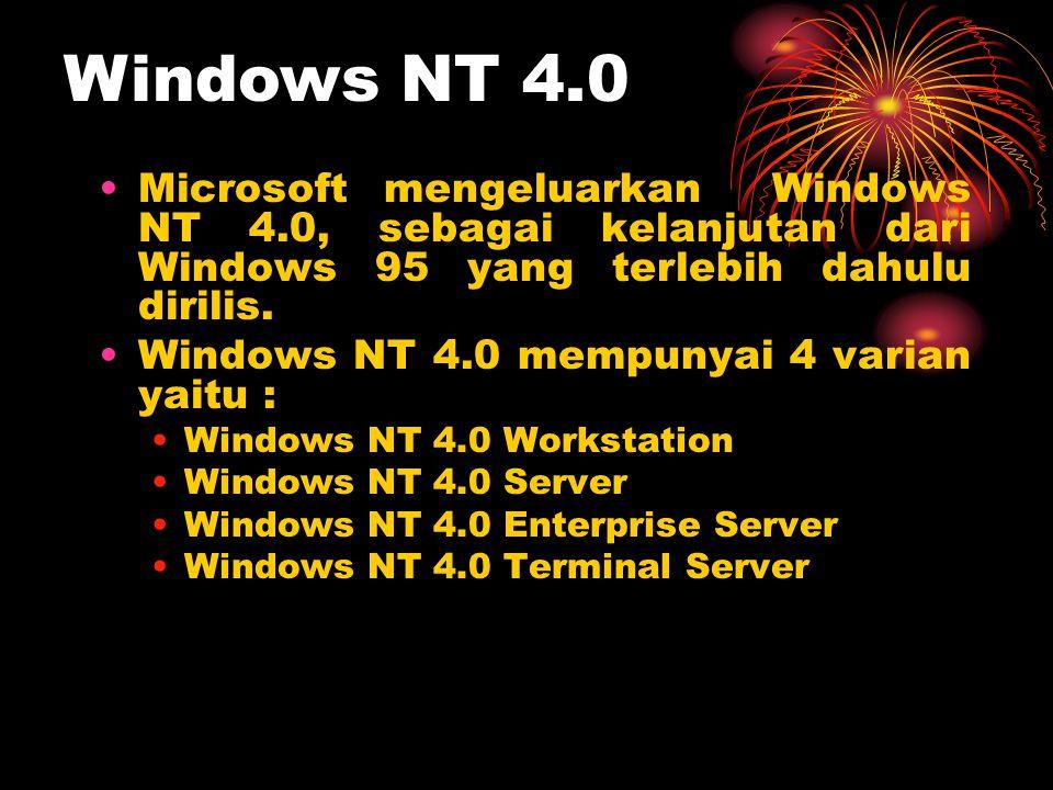 Windows NT 4.0 Microsoft mengeluarkan Windows NT 4.0, sebagai kelanjutan dari Windows 95 yang terlebih dahulu dirilis.