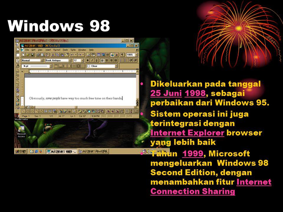 Windows 98 Dikeluarkan pada tanggal 25 Juni 1998, sebagai perbaikan dari Windows 95.