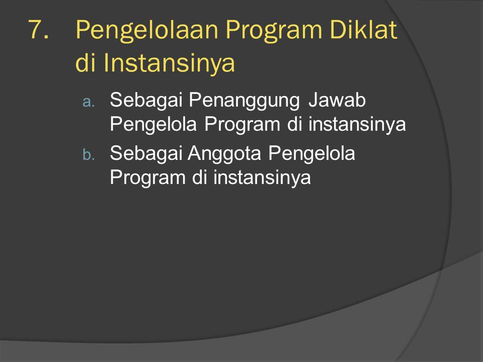 Pengelolaan Program Diklat di Instansinya