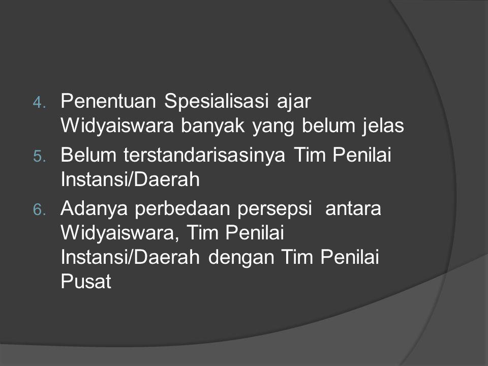 Penentuan Spesialisasi ajar Widyaiswara banyak yang belum jelas