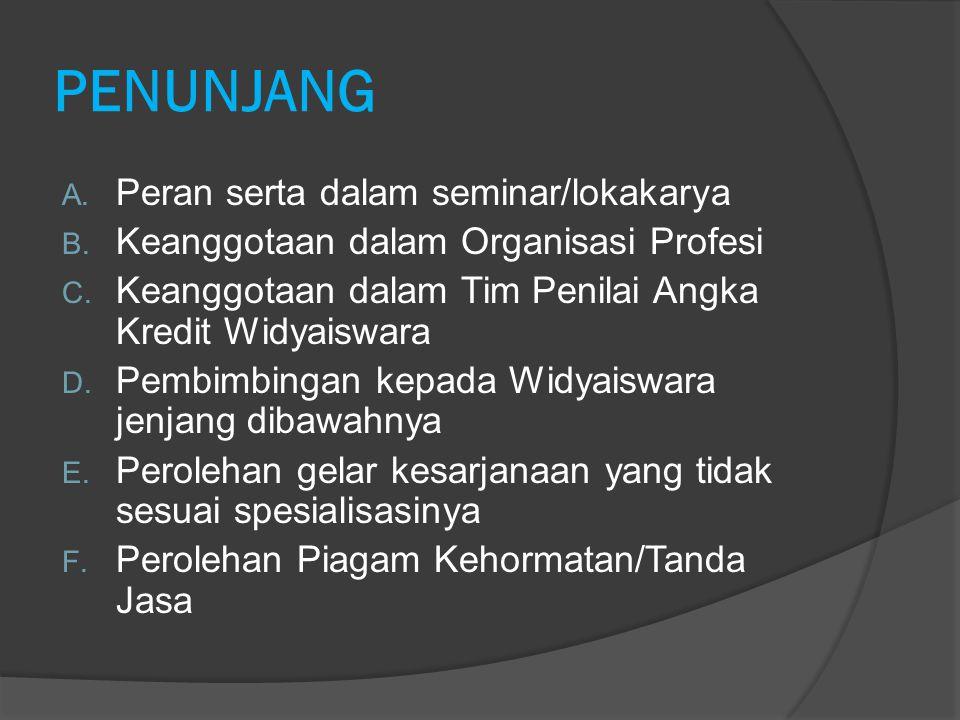 PENUNJANG Peran serta dalam seminar/lokakarya