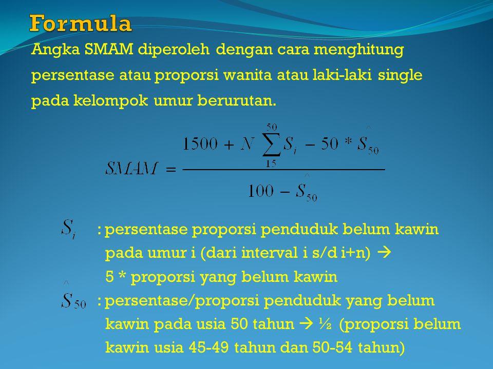 Formula Angka SMAM diperoleh dengan cara menghitung persentase atau proporsi wanita atau laki-laki single pada kelompok umur berurutan.