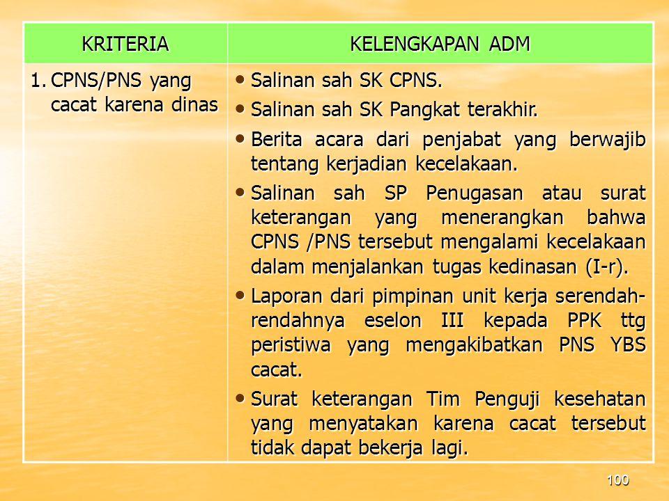 KRITERIA KELENGKAPAN ADM. 1. CPNS/PNS yang cacat karena dinas. Salinan sah SK CPNS. Salinan sah SK Pangkat terakhir.