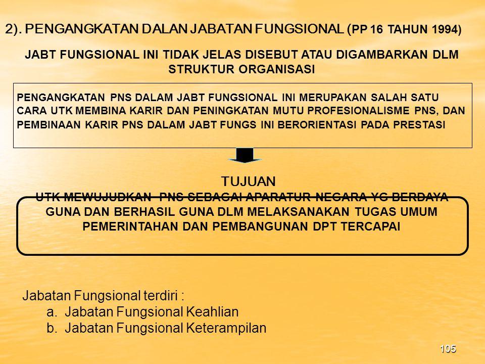 2). PENGANGKATAN DALAN JABATAN FUNGSIONAL (PP 16 TAHUN 1994)